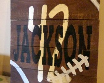 Man Cave Football Signs : Personalize football pallet wood sign with name and number boys