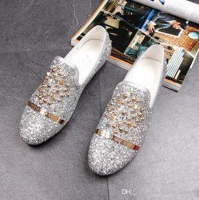 8e89faddd8e 2018 New Dandelion Spikes Flat Leather Shoes Rhinestone Fashion Mens ...