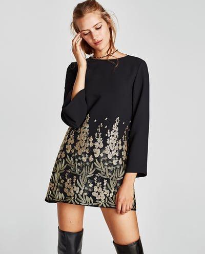 Zara Dan 2 Isleme Detayli Mini Elbise Resmi Mini Dress Dresses Womens Dresses