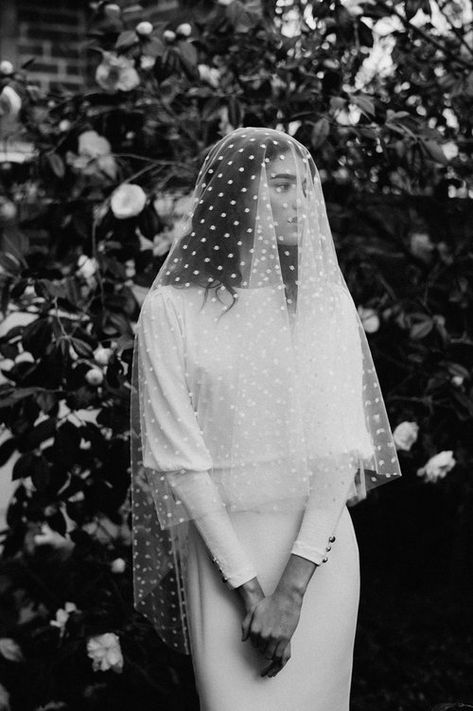 Modern bride, minimal bride, modern wedding, Lola Varma, Courtney Illfield, unique bride, cool bride, minimal outfit, vogue wedding, vogue bride, New York wedding, spotty veil, bridal veil #bride #dress #gown #wedding #bridal #white #veil #aisle #groom