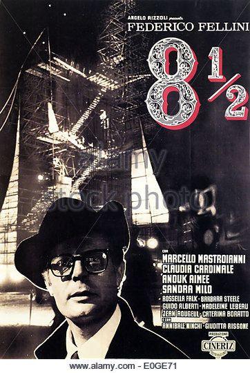 8 1 2 Frederico Fellini Original Italian Movie Poster Stock Image Movie Posters Vintage Movie Posters Cinema Posters