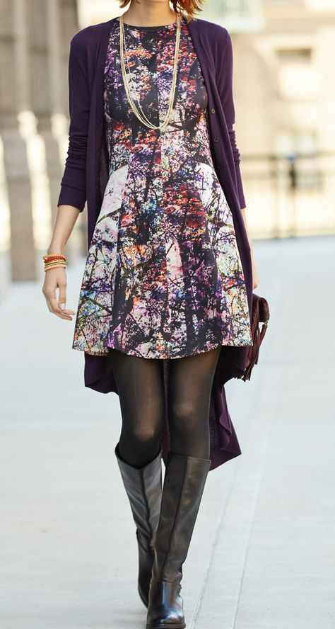 This printed number works year round, just add layers and tights to make the look fall appropriate! | Karen Kane dress