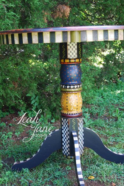 Whimsical Painted Furniture | hand painted furniture bistro pub table with gameboard hand painted ...