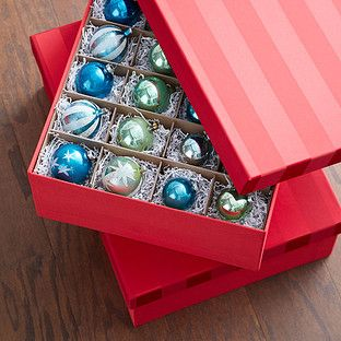 Red Moire Archival Ornament Storage Box The Container Store Ornament Storage Ornament Storage Box Holiday Storage