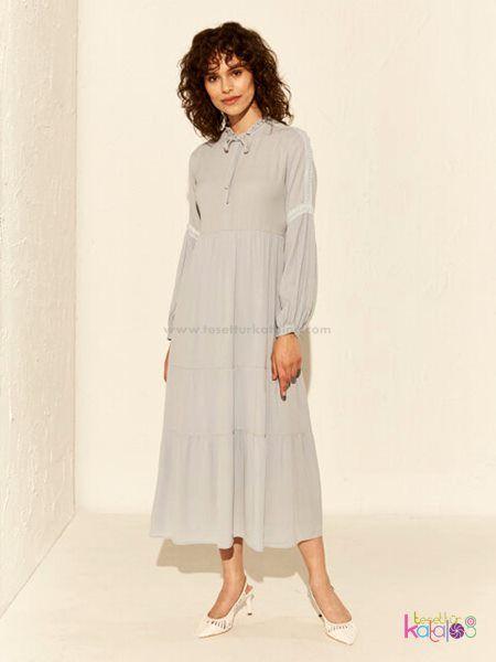 Dantel Detayli Viskon Elbise 2020 Elbise Uzun Elbise Moda Stilleri