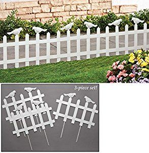 Amazon Com White Bird Garden Picket Fence Borders Set Of 3