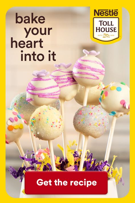 Spring is here with these delicious Spring Sugar Cookie Pops! To make these easy and tasty treats bake Nestle Toll House Sugar Cookie Dough, add cream cheese and mix until combined. Form mixture into balls and refrigerate. Microwave Nestle Toll House Premier White Morsels, stirring until smooth. Dip the cookie ball into the melted white chocolate chips and add sprinkles. Click through for the full recipe!