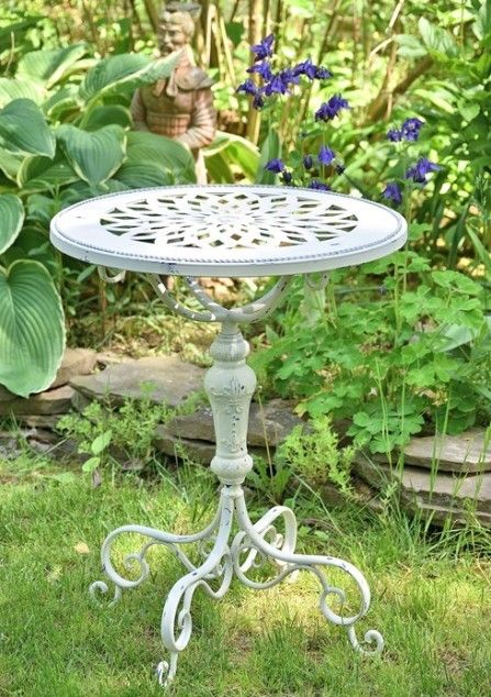 Small Decorative Metal Round Garden Table White Or Green