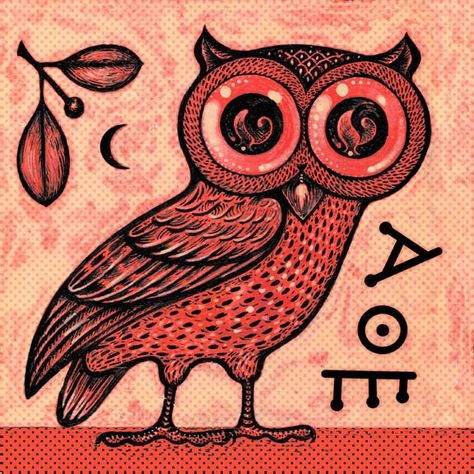 the owl, the symbol of athena, symbolizes wisdom. Alpha theta epsilon means of the Athenians, or children of Athena