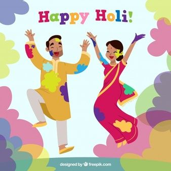 People celebrating holi festival in hand drawn style   y in