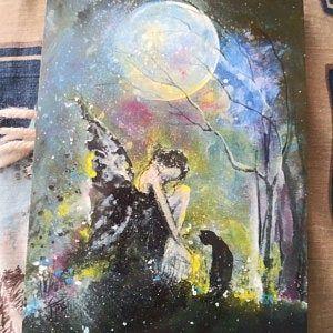 8.5x11 One Art Print from my Original Painting Kitty Silhouette Cat Familiar Cloak Witch Faerie Goddess Moon Halloween Folk Terri Foss