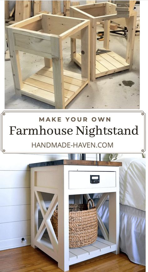 Farmhouse Nightstand/Side Table - - Farmhouse nightstand plans that will give your bedroom a Joanna Gaines farmhouse vibe. These free DIY nightstand plans are an easy step-by-step tutorial on how to recreate a farmhouse nightstand for your home. Diy Furniture Projects, Woodworking Projects Diy, Diy Wood Projects, Furniture Plans, Furniture Makeover, Home Projects, Home Furniture, Camping Furniture, Homemade Furniture