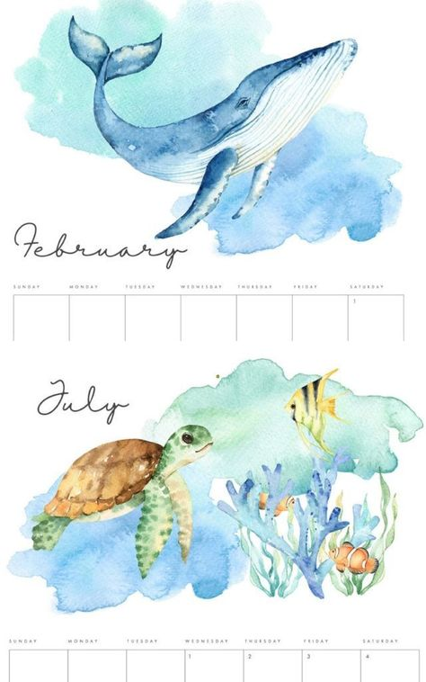 18 creative FREE printable 2020 calendars & planners from modern minimal, beautiful watercolor flowers, hand lettering, personalized photo calendar, to 3D!