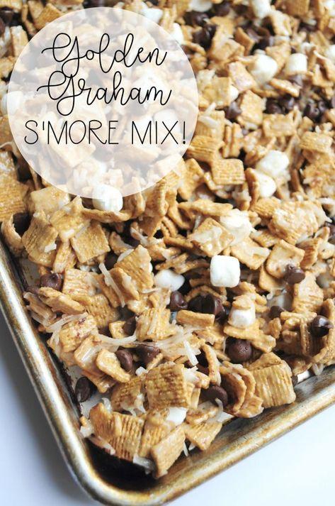 Golden Graham S'more Mix - - Golden Graham S'more Mix Dessert Anyone? Golden Graham S'more Mix Snack Mix Recipes, Yummy Snacks, Yummy Treats, Delicious Desserts, Dessert Recipes, Yummy Food, Snack Mixes, Trail Mix Recipes, Healthy Sweet Treats