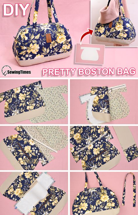 Fabric Handbags, Fabric Bags, Handbag Tutorial, Flower Embroidery Designs, Wallet Pattern, Boston Bag, Bag Patterns To Sew, Patchwork Bags, Sewing Projects For Beginners