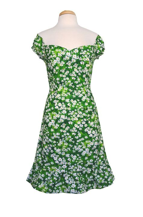 Bernie Dexter Toff Green Dress in Tiny Daisy print Off Shoulder Retro Inspired