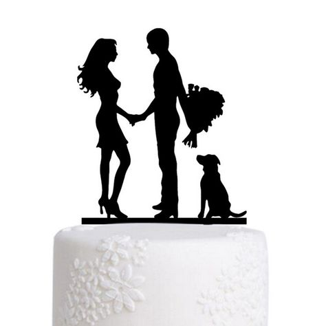 """Wedding Cake Topper (Creative /Funny /Humorous /Happy/Engagement Party) Material: Acrylic - Color: Black Approx. Size: - Bouquet Flowers: 6.9"""" x 4.7"""" (17.5cm x 12cm) - Couple & Cat: 7.7"""" x 6.1"""" (19.6cm x 15.6cm) - Couple & Pets: 6.1"""" x 4.4"""" (15.5cm x 11.3cm) - Couple & Dog: 7"""" x 5.1"""" (18cm x 13cm) - Mrs & Mrs: 5.9"""" x 5.3"""" (15cm x 13.5cm) - Happy Couple: 6.9"""" x 4.7"""" (17.5cm x 12cm) - Style: Bouquet Flowers, Bride & Groom /Newly Married Couple, Loving Gaze /Gazing Lovingly, Groom's Hand on his Bri"""