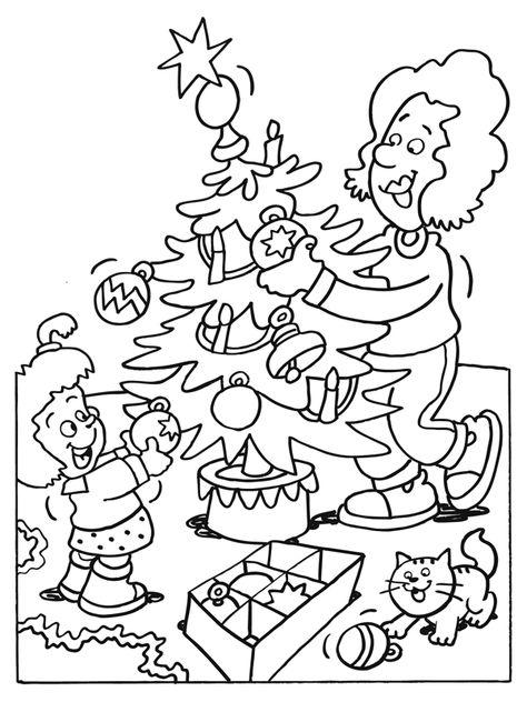 Kleurplaten Kerstboom Versieren.Kleurplaat De Kerstboom Versieren Kleurplaten Nl Kindjes