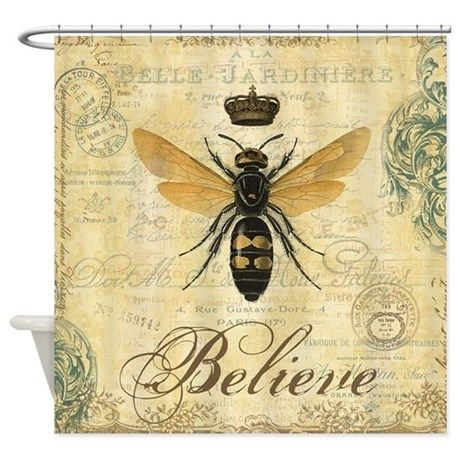 Modern Vintage French Queen Bee Shower Curtain On CafePress