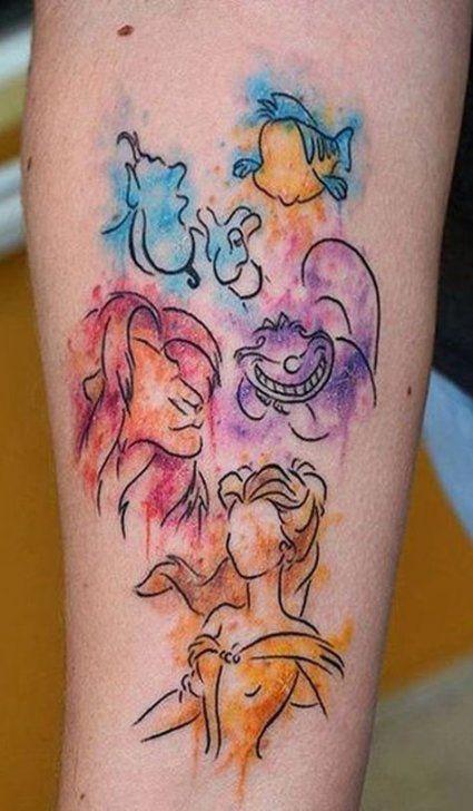 34 Ideas Watercolor Tattoo Disney The Lion King In 2020 Disney Sleeve Tattoos Arm Sleeve Tattoos Sleeve Tattoos