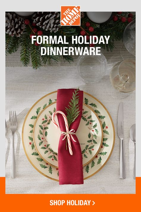 Make Christmas feel extra special by setting a formal table. Layer crisp linens with seasonal dinnerware, sparkling flatware and glittering glassware that's filled to the brim. Tap to shop dinnerware and dining essentials online at The Home Depot to add style and seasonal cheer to your Christmas table.