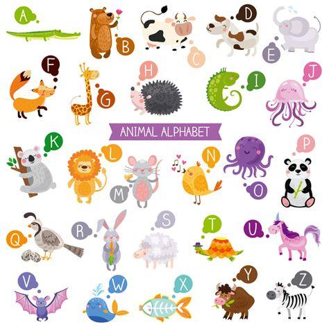Cartoon Animal Alphabets Deisng Vector Set 05 Animal Alphabet Cartoon Animals Cute Cartoon Animals