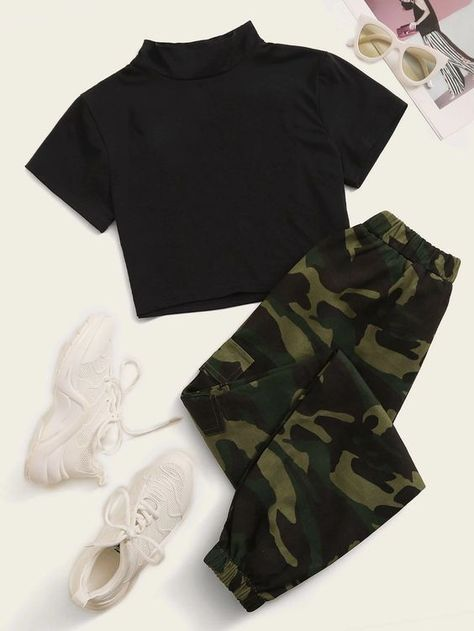 Two Piece Set Black Cropped Stand Collar Tee With Green Camourflage Joggers Women's. Women's green camo joggers with matching black standard collar cropped Tee. #CuteOutFit #SummerOutFits