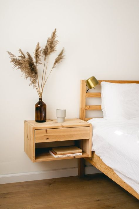 DIY Floating Bedside Tables - Upcycled Floating Bedside Tables from thrifted old drawers. A full tutorial with step by step instr - Floating Bedside Shelf, Bedside Table Decor, Floating Table, Bedside Table Design, Bedroom Table, Home Bedroom, Bedroom Decor, Upcycle Bedside Table, Bedside Table Inspiration