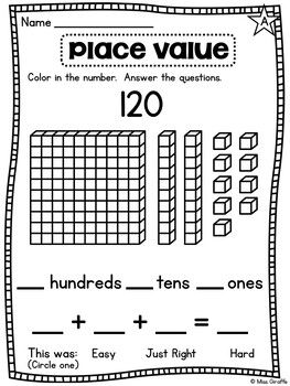 Number Of The Day Worksheets Numbers 1 120 Place Value Tens And