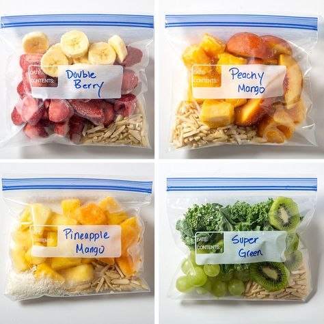 healthy snacks - Kickstart the week with Chocolate, then serve a different color the rest of the week! These smoothie packs blended with Almond Breeze almondmilk will get any day started right More Back to School Recipes Freezer Smoothies, Fruit Smoothie Recipes, Smoothie Prep, Easy Smoothies, Low Sugar Smoothies, Frozen Fruit Smoothie, Breakfast Smoothie Recipes, How To Make Smoothies, Smoothie Blender