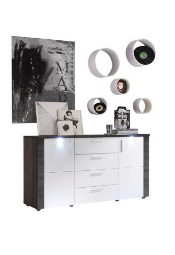 Hochglanz Sideboard mit LED Beleuchtung Weiß Esche Grau Pharao24