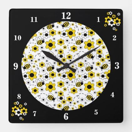 Honey Bumble Bee Baby Girl Floral Nursery Kids Square Wall Clock Zazzle Com Baby Girls Floral Nursery Girls Nursery Floral Baby Girl Floral
