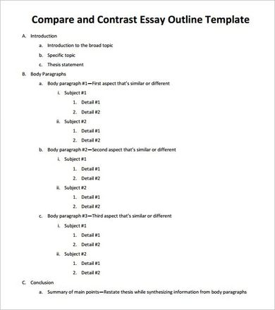 Pdf Doc Free Premium Template Essay Outline Expository Comparison And Contrast Sample Point By