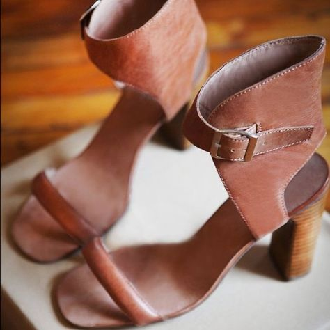 Anthropologie Shoes | Jeffrey Campbell Brown Ankle Strap Heels Size 7 | Color: Brown | Size: 7