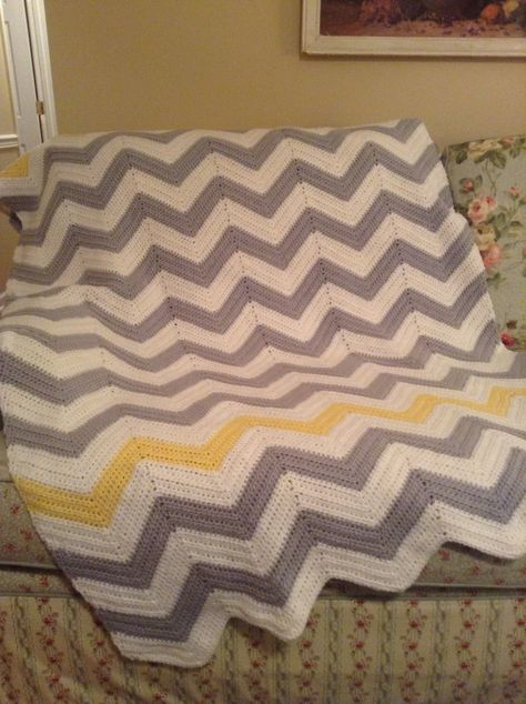 Large gray, white, and yellow chevron afghan from Etsy. I could make this.