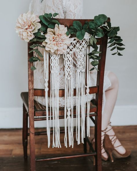 Add the beautiful touch of macramé to your wedding. These chair backs look lovely on any type of chair. They add a bohemian touch and a lacy look that makes your chairs look stunning. Just add flowers or greenery or use them alone. They have loops at each end that can be adjusted. They can later be used as pretty wall hangings, and can be given to the bridal party as a special heirloom from your celebration. Multiple orders are welcome. Processing times are quick, but please allow more…