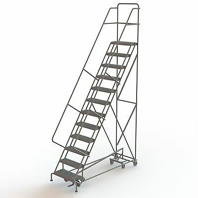 Ad Ebay Url 12 Step Steel Rolling Ladder W Serrated Steps Gry 120inh Top Step 24in 450lb Cap In 2020 Rolling Ladder Ladder Steel