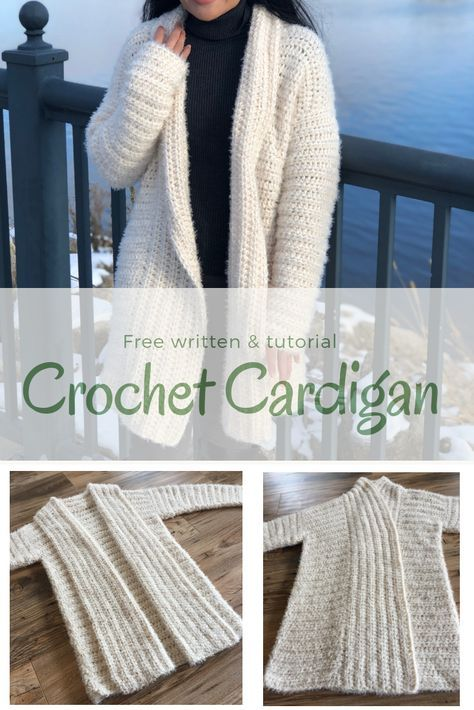 This is a great intermediate project to try out some Redheart Hygge yarn. I'm su. - Crochet sweater - This is a great intermediate project to try out some Redheart Hygge yarn. I'm su. Cardigan Au Crochet, Crochet Coat, Crochet Shawl, Crochet Clothes, Crochet Sweaters, Crochet Cardigan Pattern Free Women, Redheart Free Crochet Patterns, Crochet Jacket Pattern, Crochet Shrugs