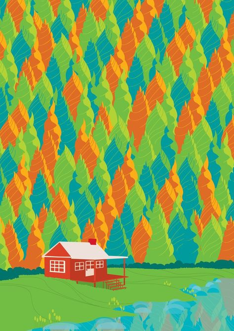 Illustration Inspiration: A cottage in the countryside, but make it colorful.