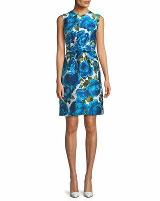 b8ad9790e92 Michael Kors Collection Designer Sleeveless Rose-Jacquard Bow-Belt A-Line  Dress
