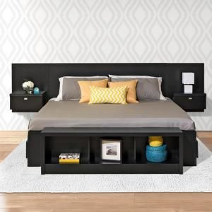 Prepac Series 9 1 Piece Black King Bedroom Set Bhhk 0520 2k Floating Headboard King Bedroom Sets Bedroom Sets