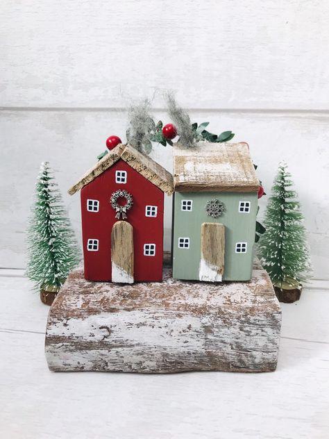 Christmas Driftwood Ornament • Driftwood House • Traditional Christmas • Christmas Gift • Christmas House Art • Christmas • Driftwood #etsy #housewares #homedecor #red #christmas #driftwoodsculpture #green #driftwoodchristmas #traditionalchristma #christmascottage