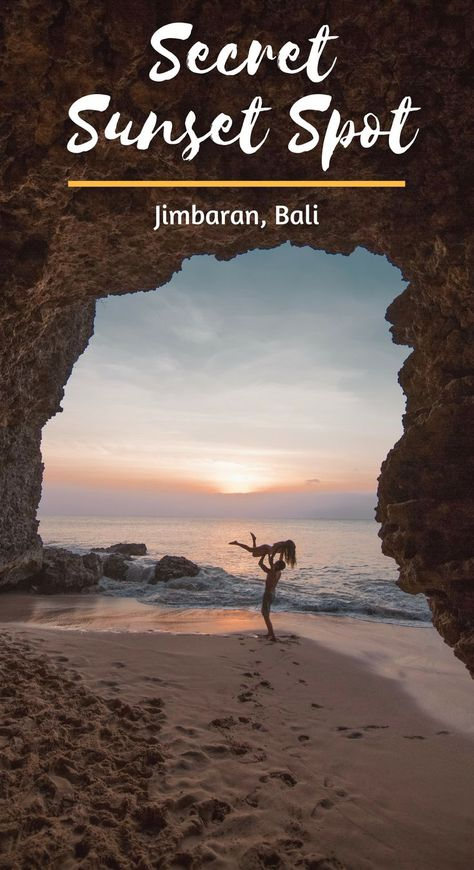 Tegal Wangi Beach in Jimbaran is the perfect spot to watch the sunsest! The secret caves also provide a great Bali Instagram shot! Things to do uluwatu. Put this on your Uluwatu Itinerary! | Aglobalstroll.com