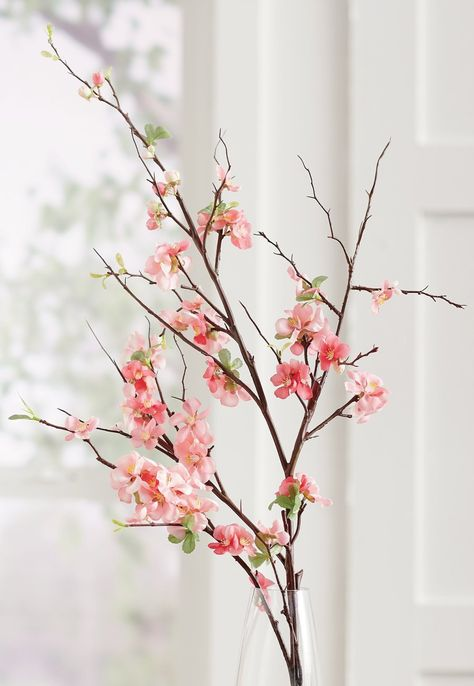 An impressive 4 ft. long, our faux Quince Blossom Stems are the perfect way to add height and texture to an arrangement. You'll get three in the set, with tiny blooms designed to stay fresh looking season after season with absolutely no upkeep.