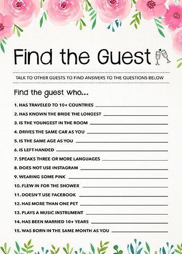 Find The Guest Bridal Shower Game Wedding Quiz Game Etsy Wedding Quiz Simple Bridal Shower Wedding Shower Games