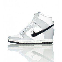 hot sales f5ef6 fd0ff Nike Dunk Sky High (Haute) Baskets Compensées Femme Code de Style  528899011 Argent Noir Blanc France boutique en ligne