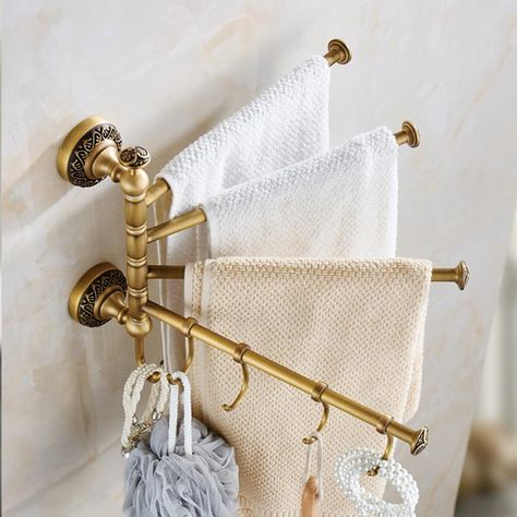 Type: Towel Bars Material: Copper Surface Finishing: Brass Length: < cm) Feature: 3 or 4 bars Number of Bars: 3 or 4 Towel bar Finish: Antique brass Estimated Delivery: days