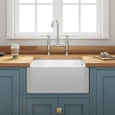 Butler Rose Ceramic Fireclay Belfast Kitchen Sink With Waste 600 X 450mm Belfast Sink Ceramic Kitchen Sinks Small Kitchen Sink