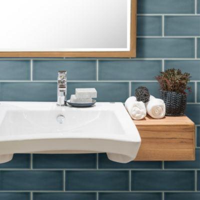 Blue Allen Roth Ceramic Subway Tile On A Bathroom Wall Blue Tile Floor Blue Subway Tile Ceramic Subway Tile