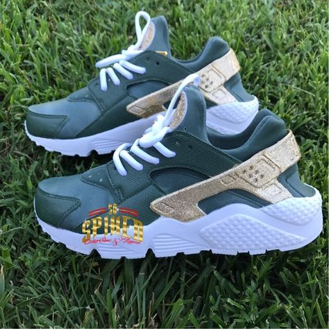 on sale 579b7 24510 Custom Olive Green and Gold Glitter Nike Air Huaraches with glitter logo ( Women   Men sizes - contac